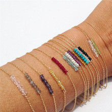 цена ROMAD Dainty Beaded Bracelet Gold Birthstone Minimal Bracelet Bead Bar Bracelet Thin Gold Chain Bracelet For Women Baby R4 онлайн в 2017 году