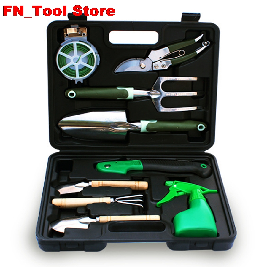 9pcs/Set Household gardening tools set Gardening tool mix kraft will seven sets of garden tool set gardening metal toolbox tool set