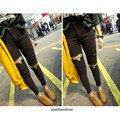 2016 Fashion Blue black Ripped Mid Waist Plus Size Women Denim Jeans Elastic Skinny Knee Cotton Denim Pants