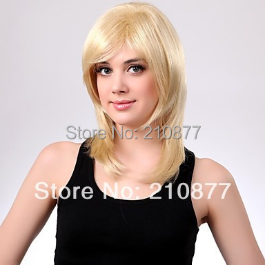 Celebrity Hairstyle Medium Length High Quality Synthetic Staight Blonde Synthetic Hair Full Wigs