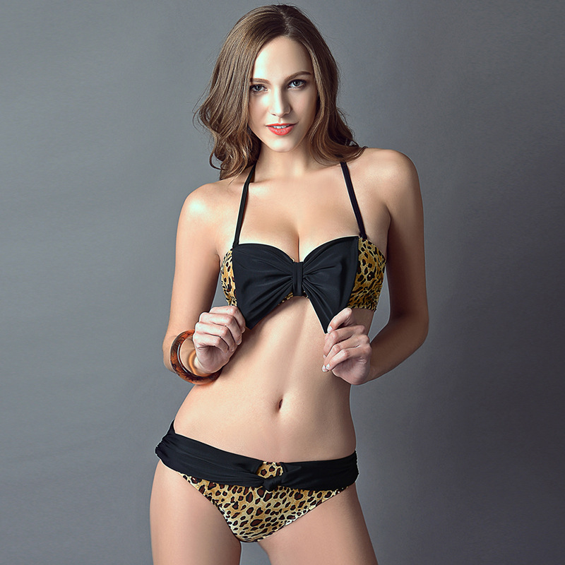 Sexy Leopard butterfly Bikini women with no bra steel support body high  elastic swimwear swimsuit ב-Sexy Leopard butterfly Bikini women with no bra  steel ...