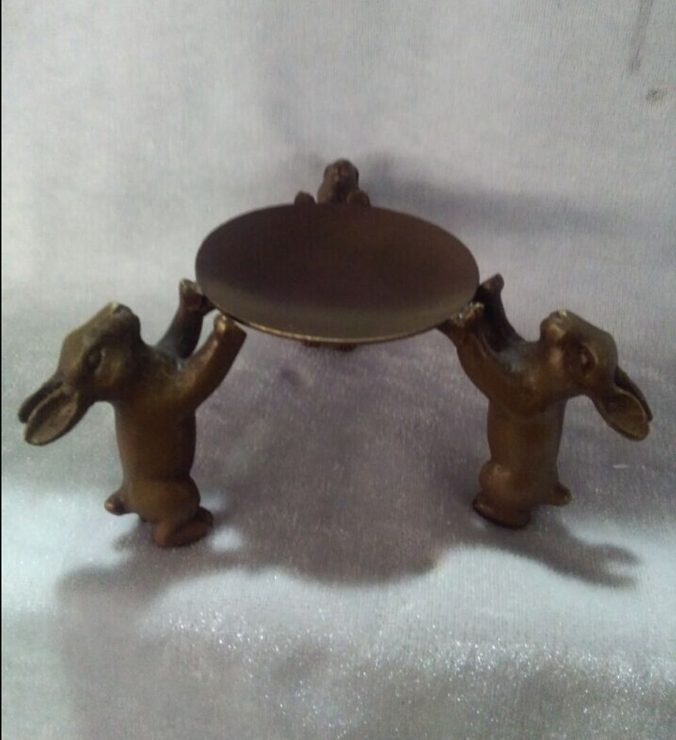 Home Decorated Handwork Copper Carving 3 Rabbit Statue The Candle Holder/ Candlestick