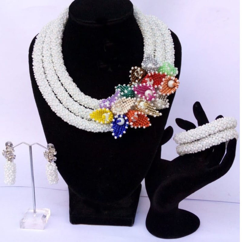 4UJewelry Indian Jewelry Sets Three Layers With Colorful Beaded Flowers Crystal Bridal Necklace Set free Shipping 2019 3 Pcs New