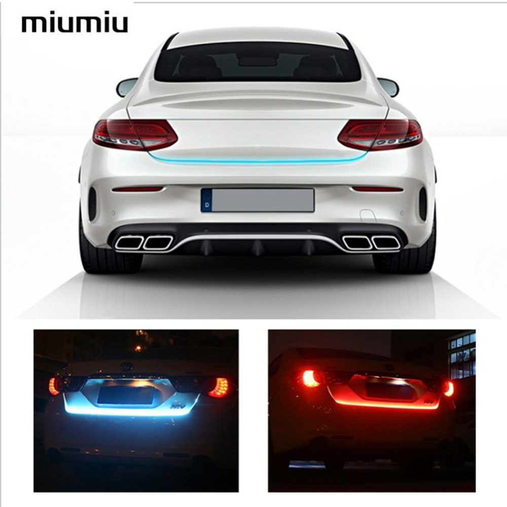 Miumiu RGB Motion LED Strip Lighting Rear Trunk Brake Tail Light Brake Turn Signal Lights LED Strip Ice Bar Lamp Warning light