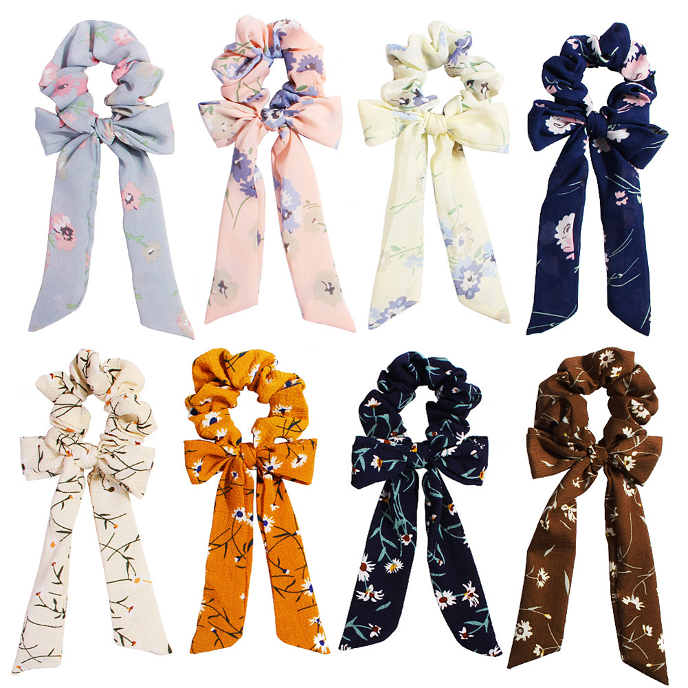 Bow Streamers Hair Ring scrunchie hair scrunchies Ribbon Girl hair ties Horsetail Tie Solid   Headwear   girls Hair Accessories