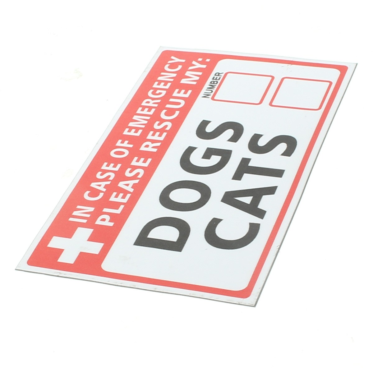 NEW Emergency Pet Rescue DOG CAT Vinyl Sticker Label Signs Safety Warning 74*125mm Security Safety