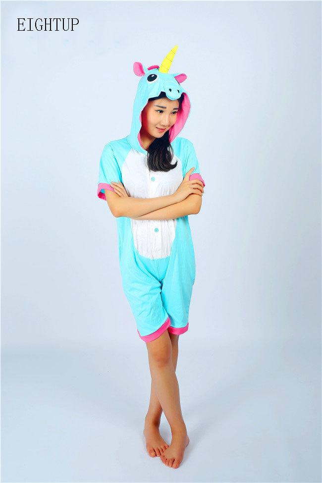 4895f8d4d8 Adult Cotton Summer Unicorn Onesie Pajamas Kigurumi Sleepsuit Unisex Animal  Onesies Costumes Short Sleeve Sleepwear Cosplay-in Anime Costumes from  Novelty ...