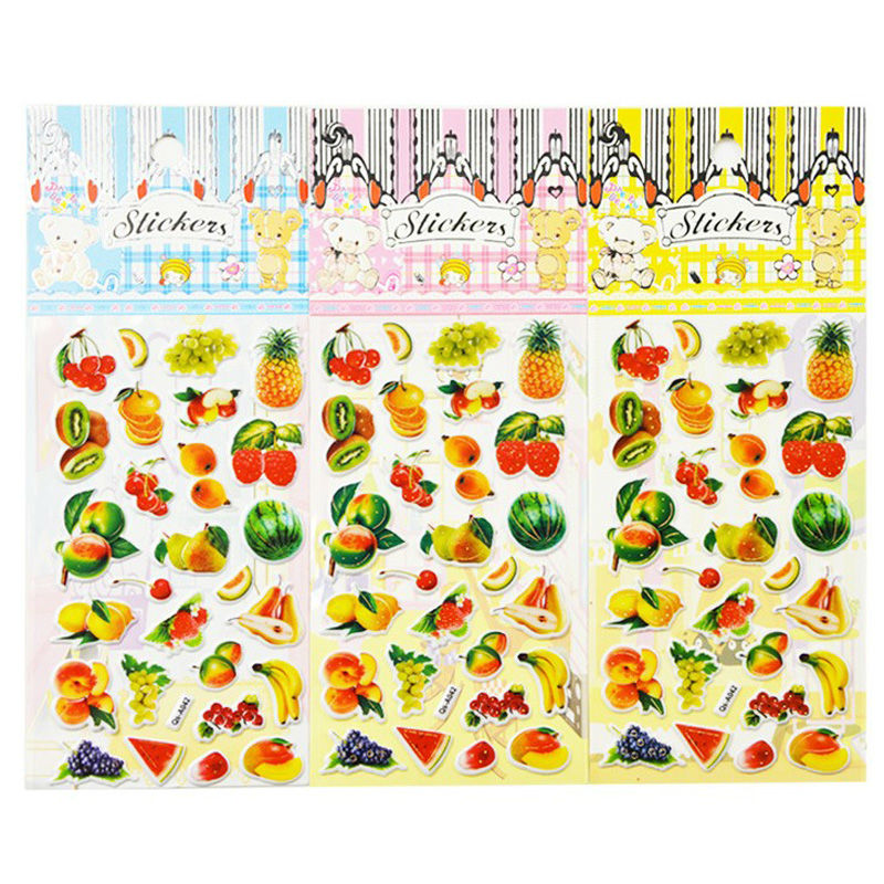Fruits pupils 1 Sheet Children 3D bubble stickers bubble stickers