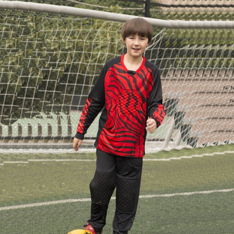 964006003 Maillot De Foot Kids Long Sleeve Goalkeeper Soccer Jersey Kits Children  boys girls Full Goalie Keeper Football Uniform Pants -in Soccer Jerseys  from Sports ...