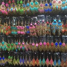 Boucles d'oreilles en forme de fleur sculptées pour femmes, lot de 20 paires de boucles d'oreilles de Style mixte, ethnique, bohème, longues, goutte d'eau, vente en gros