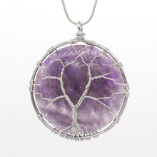 цена Kraft-beads Popular Silver Plated Natural Amethysts Round Stone Wire Wrapped Pendant Fashion Jewelry онлайн в 2017 году