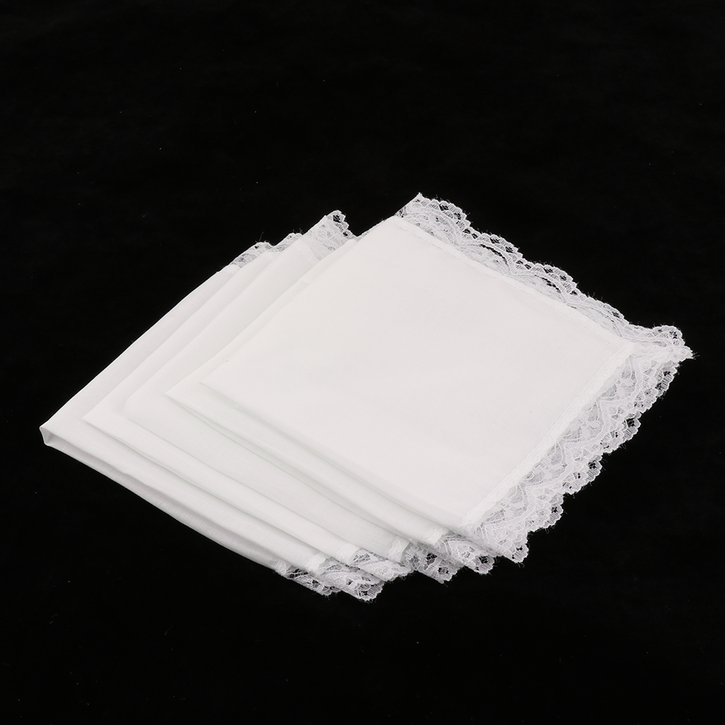 5 Pieces Ladies Embroidery Cotton Handkerchiefs Lace Border White Hanky for Wedding Party Banquet