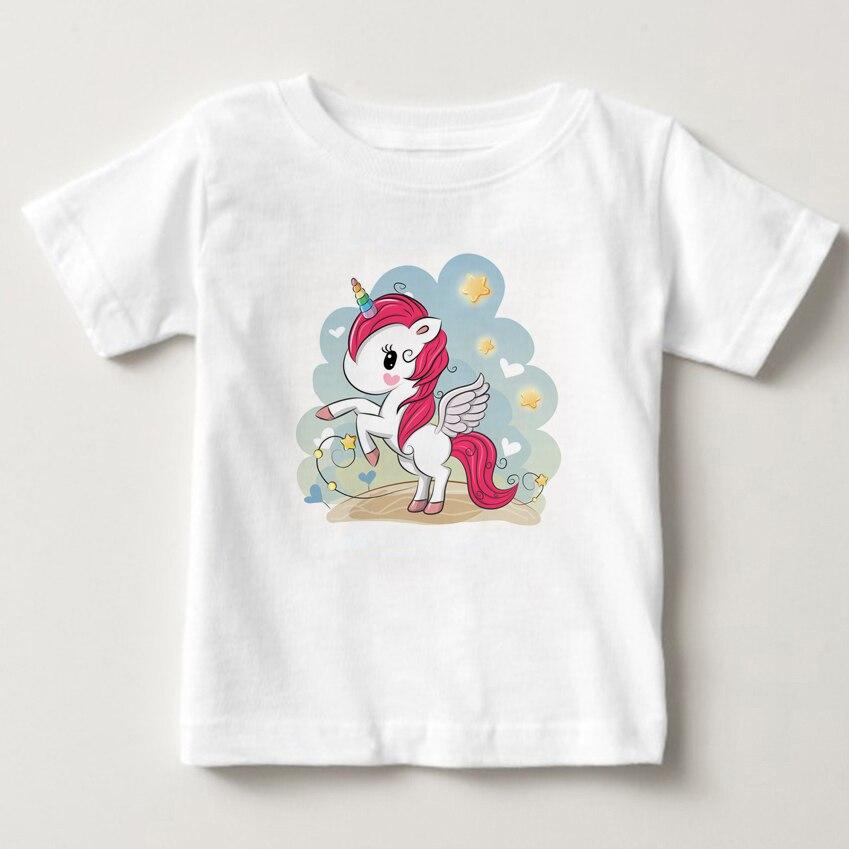 Cute pony print childrens T-shirt latest digital cartoon Unicorn children cute girl summer
