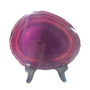 1 sztuk plastry agatu Geode kamienie, podstawki puchar Mat, nieregularny kształt wystrój kryształy kolekcji + drewniane wsparcie