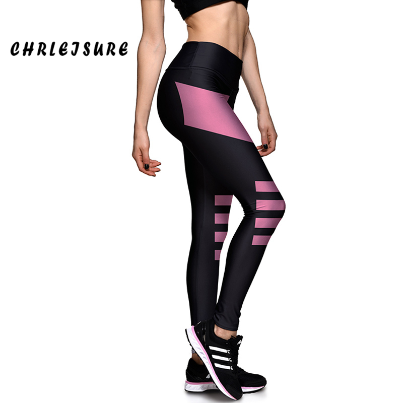 CHRLEISURE Women   Leggings   Causal New Spring Summer Leggins Printed Geometry Pink And Black Elastic High Waist Woman   Leggings