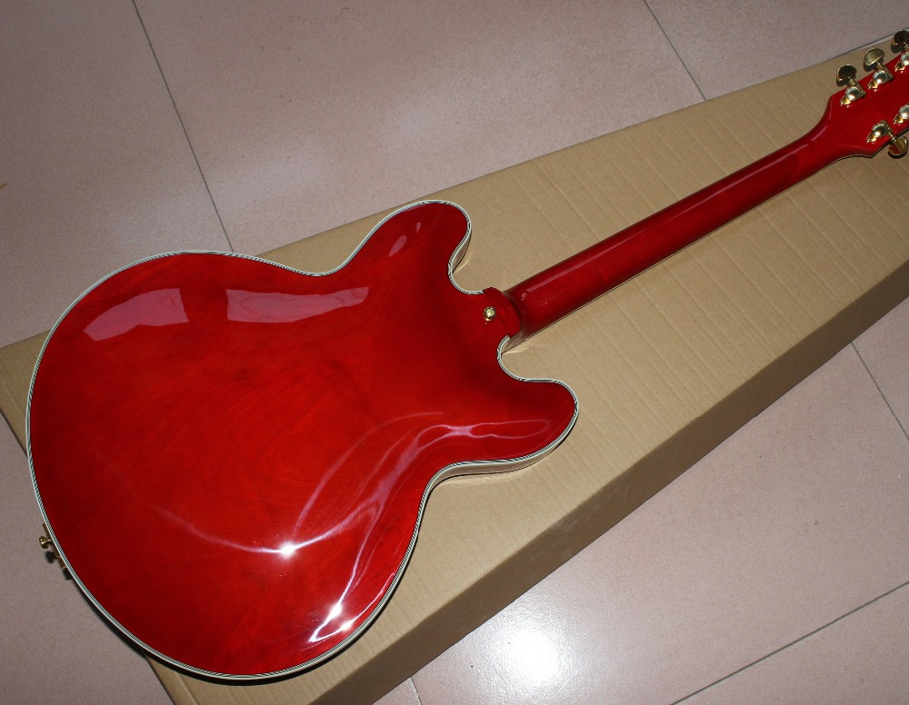 hot selling high quality new red Custom shop half hollow electric guitar , with red color and gold color hardware