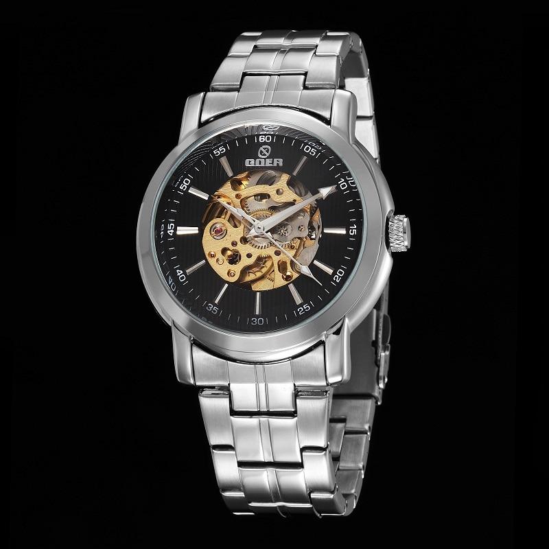 GOER brand Men s sports Mechanical Stainless Steel Wrist watch Automatic waterproof male Luminous Skeleton digital