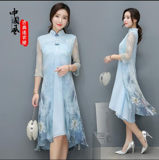 New Chinese style Cheongsam dress Leisure Vietnam womens dress
