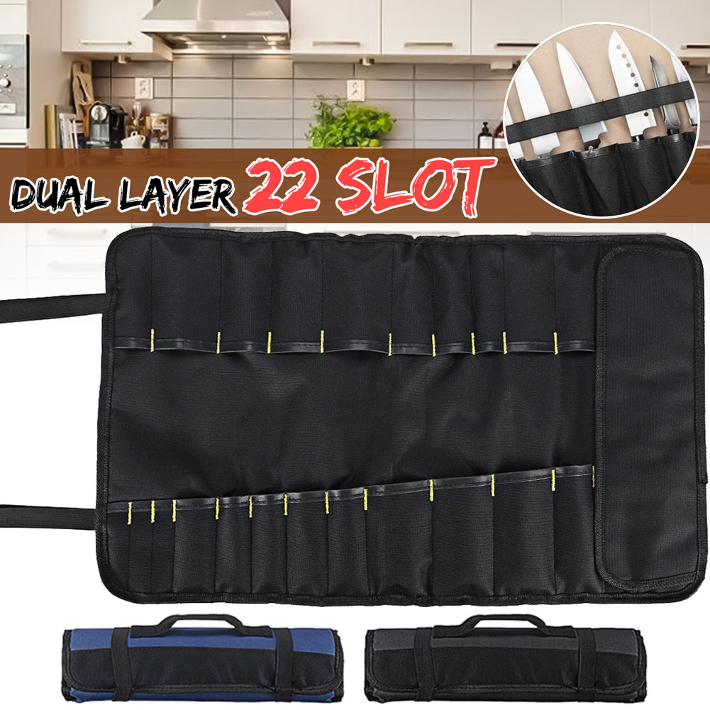 22 Pocket Chef Cutter Roll Bag Portable Carry Case Storage Bag Kitchen Cooking TB Sale