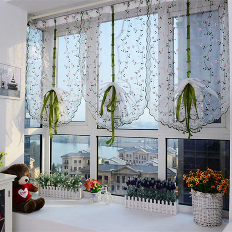 Curtain Cute Living Room Valances For Your Home: New Green Pull Stripes Small Floral Curtains Cute Screens