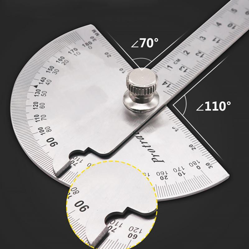 14.5 cm 180 degrés rapporteur réglable multifonction en acier inoxydable tête ronde angle règle mathématiques outil de mesure