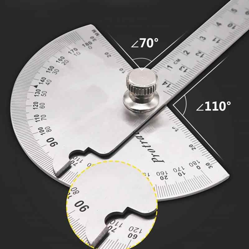 14.5cm 180 derece ayarlanabilir açıölçer çok fonksiyonlu paslanmaz çelik yuvarlak açı cetvel matematik ölçüm aracı