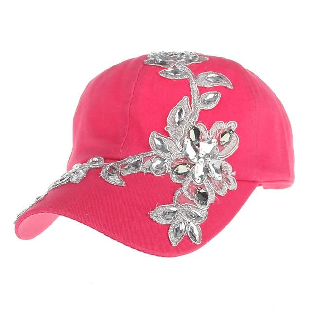 3e9d5923add23 Nuevas mujeres Gorras de béisbol diamante flor ajustable sombreros verano  Bordado flor snapbacks CAPS señora casual