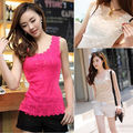 New Women  top clothes 2017 Candy Color shirt Floral Lace Sexy Top Short Sleeveless  Blouse Crew Neck shirt