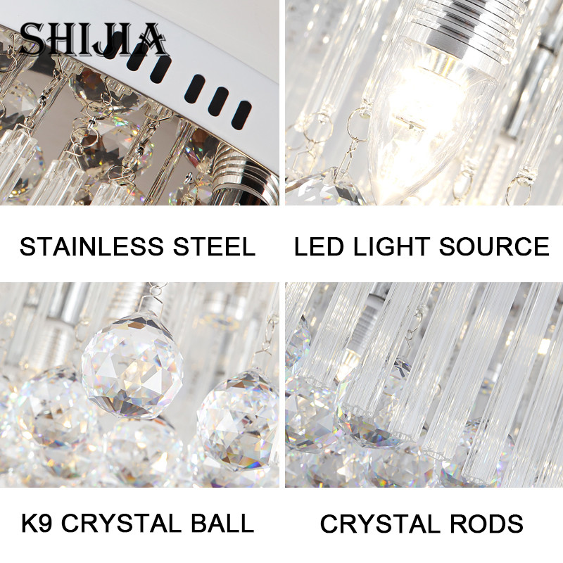 Modern Crystal Ceiling Light for Living Room Remote Control LED Ceiling Lamp for Bedroom Kitchen Foyer Hotel Hall Round Lamp
