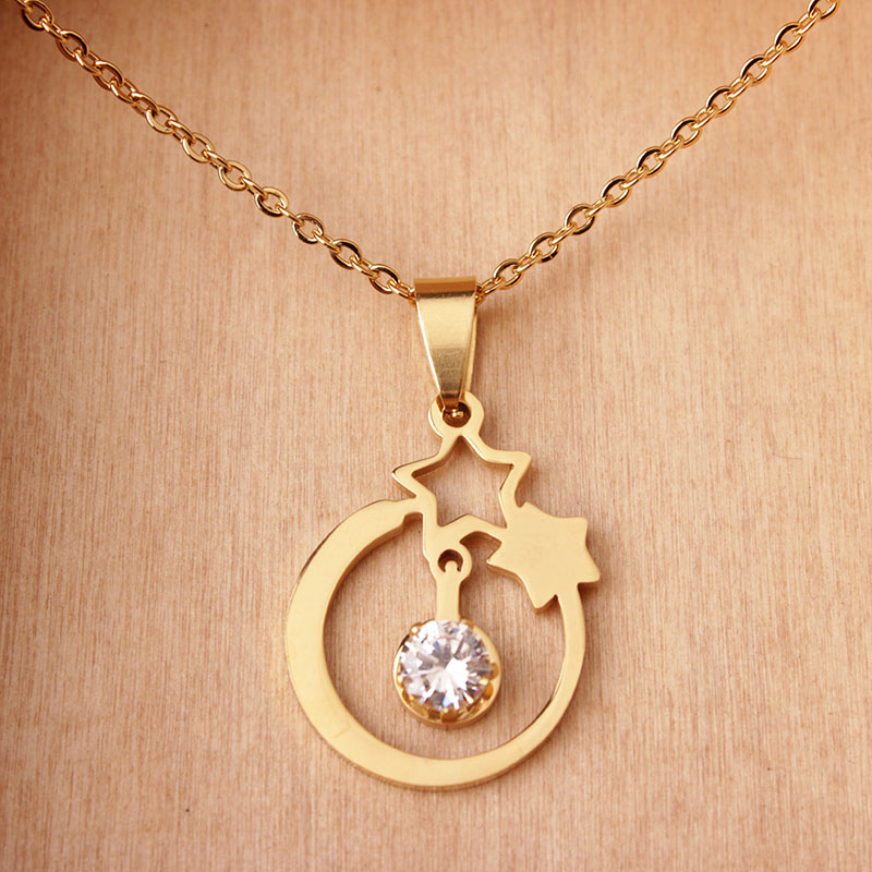 New Design Product Stainless Steel Gold Star Necklace With CZ Two ...