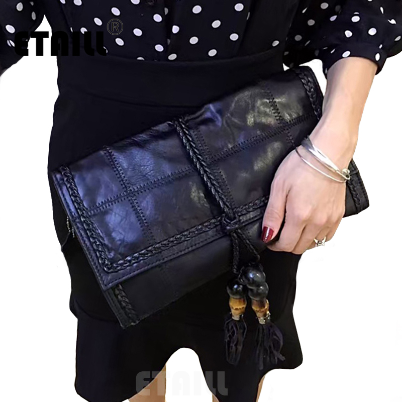 Hot Knitted Leather Luxury Designer Brand Tassel Clutch Women Evening Bags New 2016 High Quality Fashion