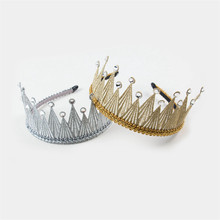 1PCS/LOT Ring Bearer Crown Solid Hairband Prince Royal Style Kids Headbands Shinning Crystal Luxury Girls