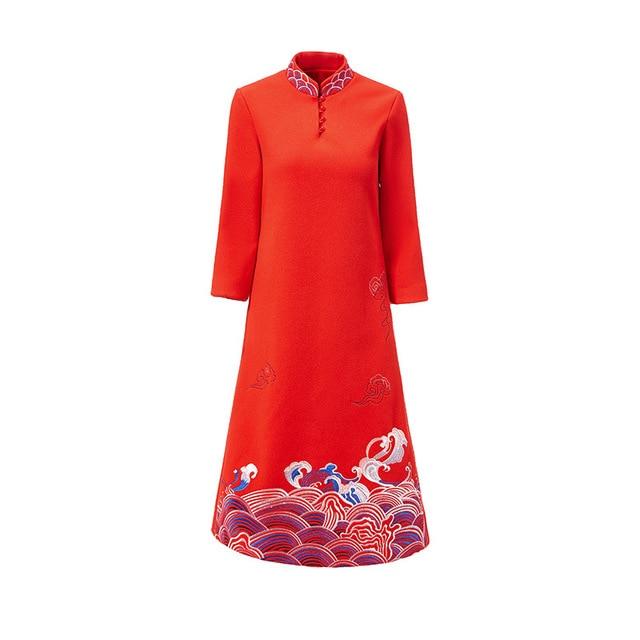 La longueur Robe Cheongsam Mince Tempérament Kelly Mi Pour Et À Dames Femmes Magnifique Broderie Laine Mode D'hiver red Sac Marque Khaki 80wPXOnk