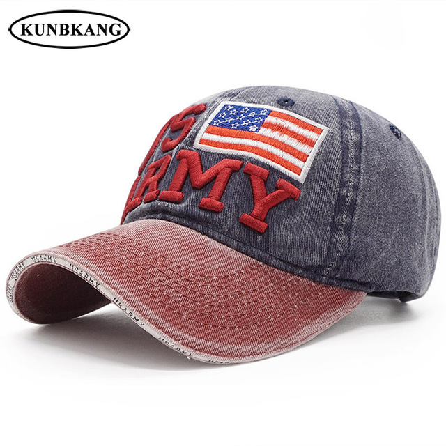 23e9e70bff5c0 100% Washed Cotton Baseball Cap Men US ARMY Snapback Dad Hat Embroidery  Letter Bone Women Casquette Hats USA Flag Snapback Cap