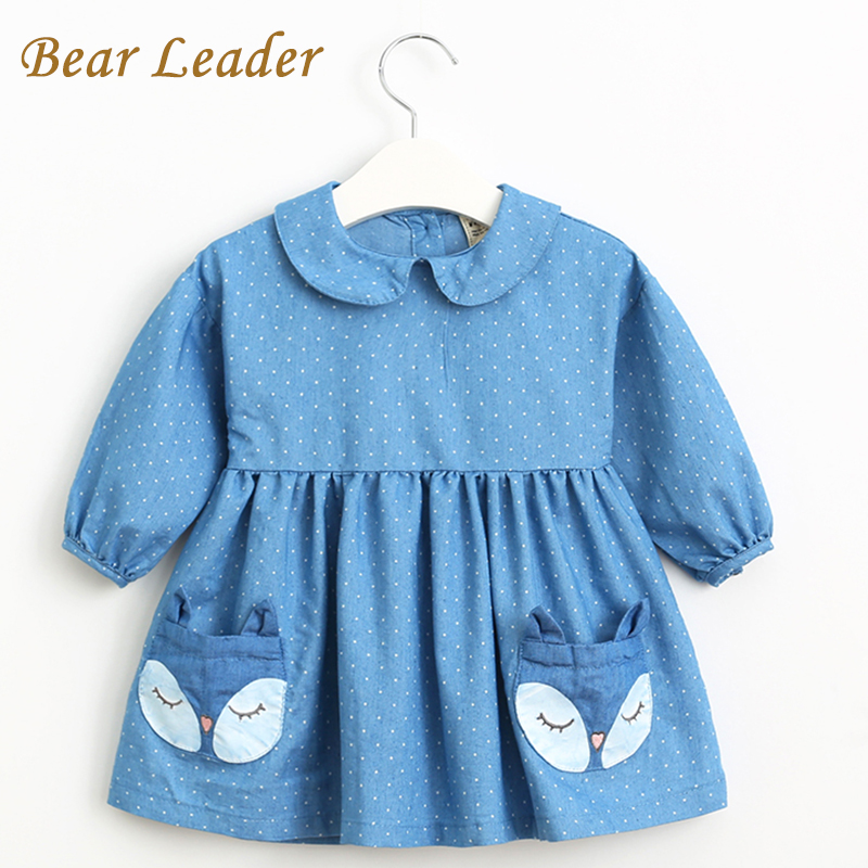 Bear Leader Spring Denim Dress 2018 New Girls Dress Long Sleeve Lapel Dot Fox Pattern Pocket Design for Princess Dress 2-6Y поло мужское oodji lab цвет белый синий 5l412293m 47898n 1075g размер xl 56