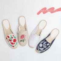 Lazy Retro Fisherman Baotou Half Slippers Female 2018 New Canvas Flat Bottom Summer Wear Mules Shoes