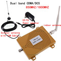 FULL SET 65dBi CDMA DCS 850/1800MHz Dual Band Cell Phone Signal Booster Repeater Booster Amplifier Extender Antenna Kit