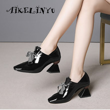 AIKELINYU Unusual High Heels Woman Pumps Lace-up Cow Leather Ladies Shoes Sexy Strange Heel Mature Office Elegant