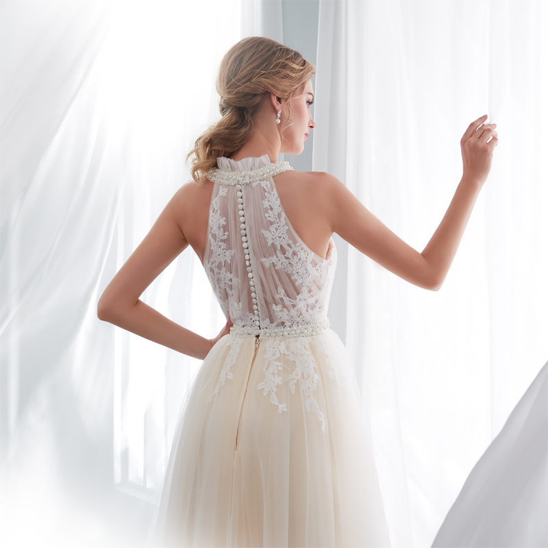 Lace Halter Wedding Gown: Tulle Appliqued Lace Halter A Line Bridal Gown Dress