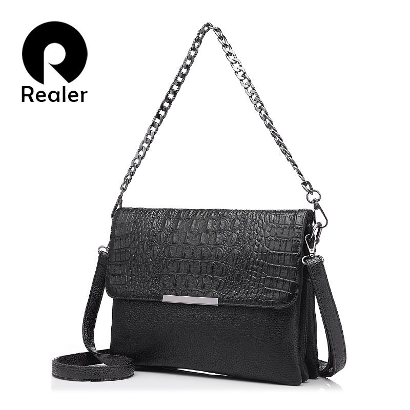 REALER  Messenger Bags Women Artificial Leather Handbag Clutches With Crocodile Pattern  Chain  Fashion Ladies Shoulder Bag