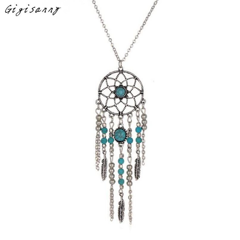 Gigisanny 2016 Women Retro Turquoise Feather Pendant Long Sweater Chain Necklace Creative Gifts Free Shipping,Oct 24