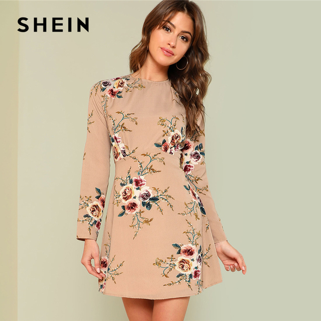 ad1ab3a512 SHEIN Flower Print Pleated Fit & Flare Dress 2018 Summer Round Neck Long  Sleeve Pleated Casual