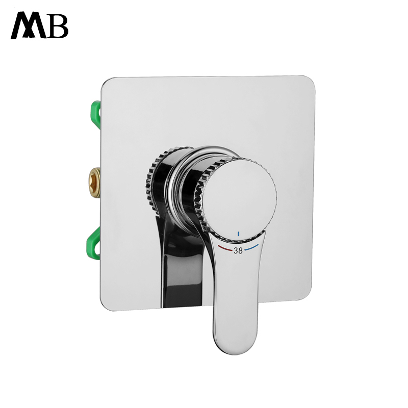 Concealed Mounted Thermostatic Shower Faucets With Embedded box Single Handle Shower Mixer Chrome Shower Controller Valve Brass