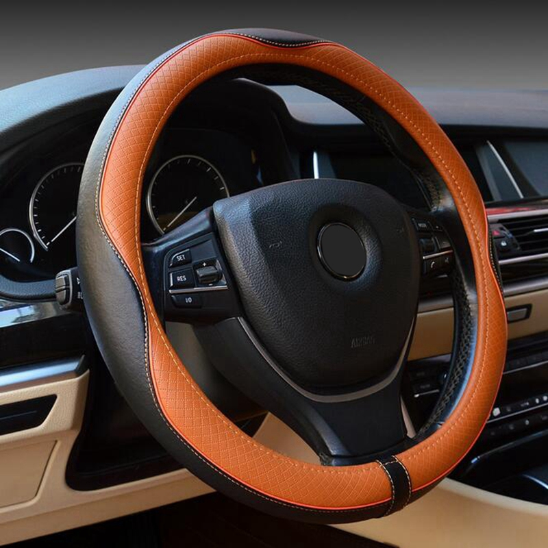 Steering Wheel Covers Soft Real Leather embossed Steering-wheel Universally 38cm Accessories For BMW X1 X3 X5 X6 1/3 Series projector lamp dt00821 for hitachi cp x3 x3w x5 x5w x6 600xh 100