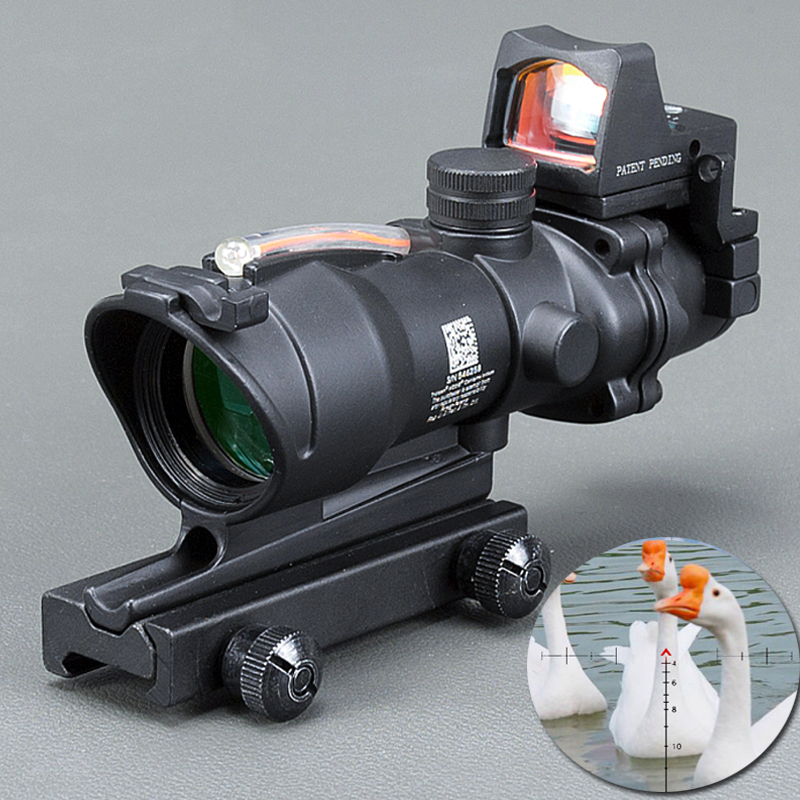 Acog 4x32 Ottica Scope Riflescope Cahevron Reticolo In Fibra di Rosso Verde Illuminato Ottica Sight Con Rmr Mini Red Dot vista
