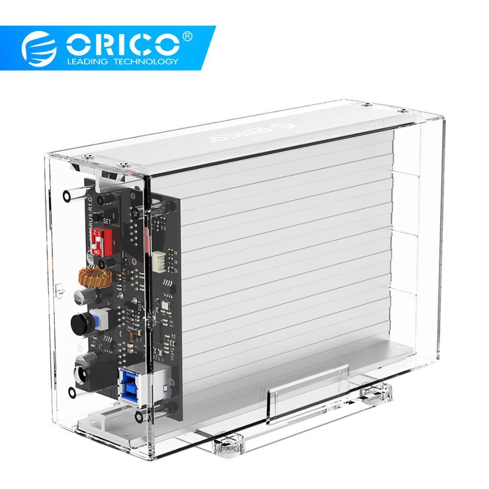 Boîtier disque dur ORICO 2 baies 3.5 ''avec fonction Raid SATA vers USB 3.0 boîtier de disque dur Transparent Support UASP avec puissance 12V3A 24 to Max