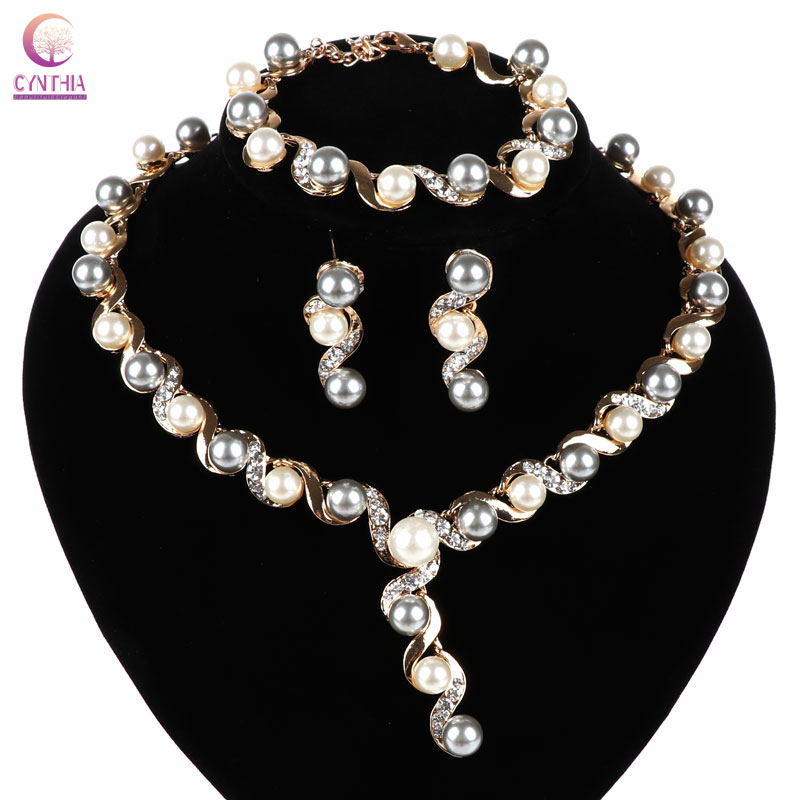 Wedding & Formal Occasion Charm Crystal Pearl Necklace Earrings Bracelet Wristband Wedding Jewelry Set
