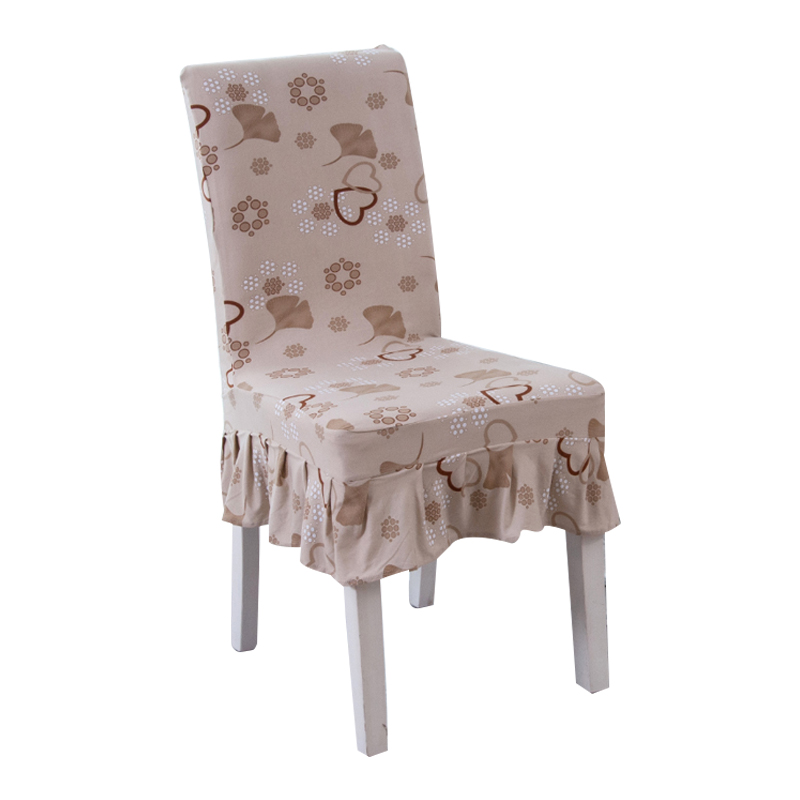 Skirt Chair Covers Polyester Leaves Printed Chair Covers