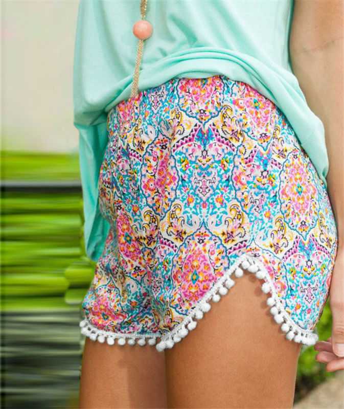2017 Summer Ladies Loose Boho Shorts Women Short Pants Femme Sexy Mini Fitness Beach Cotton Crochet Lace Print flower Shorts 6