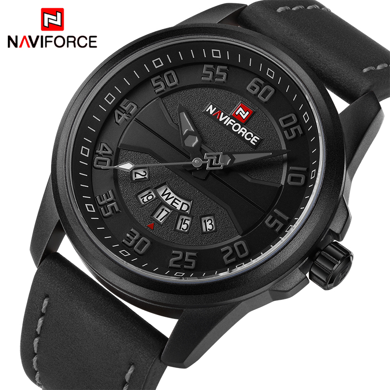 New Luxury Brand NAVIFORCE Men Fashion Casual Watches Men's Quartz Clock Man Leather Strap Army Military Sports Wrist Watch 2016 men s brand naviforce fashion sports watches men 3d dial quartz watch man nylon strap army military wrist watches